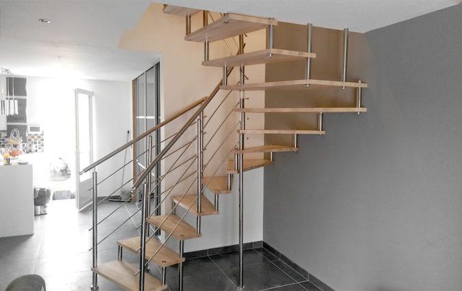 Escalier bois et aluminium
